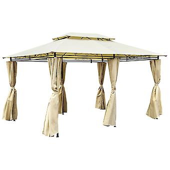 Charles Bentley 3M X 4M Steel Art Beige Gazebo With Side Curtains Marquee Tent