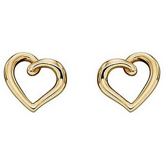 מרכיבים זהב-עגילי לב אורגניים-זהב