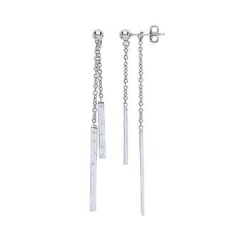 Jewelco London Ladies Rhodium Plated Sterling Silver White round brilliant CUbic Zirconia Wind Chime Drop Earrings