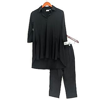 Women with Control Petite Set Crepe Jersey Tunic & Pant Black A290084