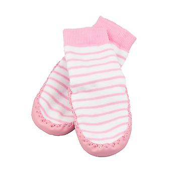SKEANIE Leather and Cotton Moccasin Baby Socks Pink Stripes