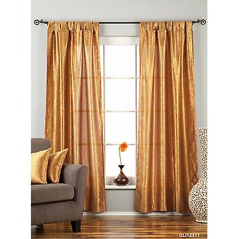 Gingery Gold Tab Top Textured Curtain / Drape / Panel - 84