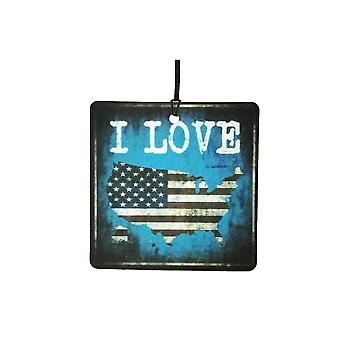 I Love USA Land Of The Free Home Of The Brave Air Freshener