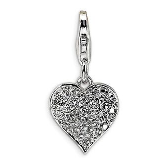 925 Sterling Silver Solid Réversible Rhodium plaqué Fancy Lobster Closure 3 D CZ et Red Enamel Love Heart With Lobster