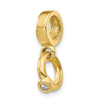 14k Geel goud gepolijst reflecties CZ Cubic Zirconia Gesimuleerde Diamond Engagement Ring Bungelen Bead Charm Sieraden Geschenken