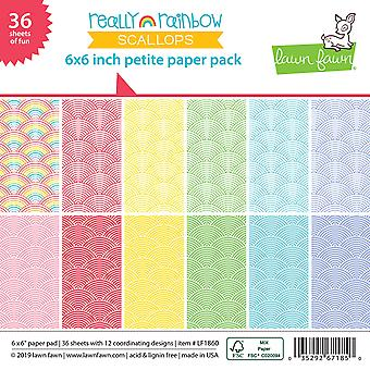 Lawn Fawn Really Rainbow Scallops 6x6 Inch Paper Pad