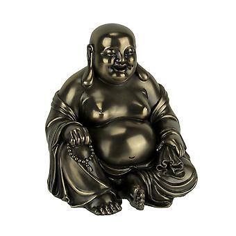 Bronzen finish Lachende Boeddha Holding kralen en tas standbeeld