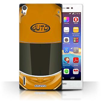 STUFF4 Case/Cover voor Huawei Ascend P7 LTE/Superbike/Orange/Motorhelm