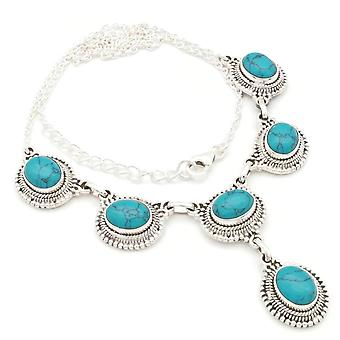 Turquoise Necklace 925 Silver Sterling Silver Necklace Necklace Blue Green (MCO 08-15)