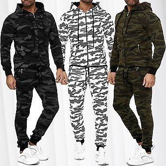 Men's Jogging Suit Camouflage Tracksuit Sweat Set Hooded Jacket Sports Trousers