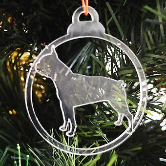 Hund TAND klar Acryl Weihnachten Dekorationen 6pk - Boston Terrier