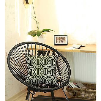 Khaki Green and White Jacquard Geo Decorative Throw Pillow Cover