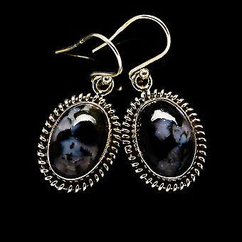 "Gabbro Earrings 1 1/4"" (925 Sterling Silver)  - Handmade Boho Vintage Jewelry EARR394807"