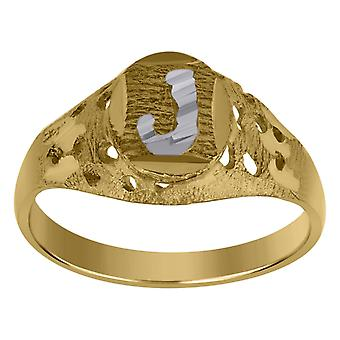 10k kaksi sävy kultaa vauva pojille tai tytöilleLetter Nimi Henkilökohtainen Monogram alkuperäinen J Band Ring Toimenpiteet 7.5x2.20mm Wide S