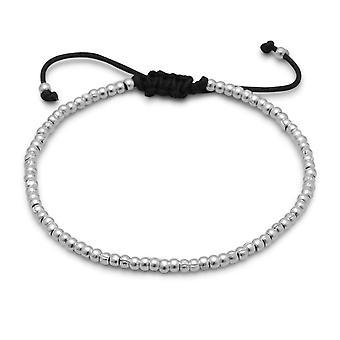 Justerbar Svart Bomull Sladd Armband 3mm Texturerat 925 Sterling Silver Pärlor Smycken Gåvor för kvinnor