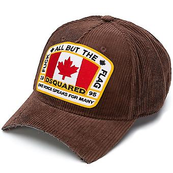 Dsquared2 DSquared2 Corduroy 'All But The Flag' Cap Brown