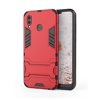 HATOLY iPhone XR - Robotic Armor Case Cover Cas TPU Case Red + Kickstand