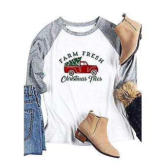 Women Merry Christmas T-Shirt Raglan Long Sleeve Baseball, White, Size Medium