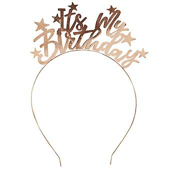 Head Band 'Its My Birthday' Gold Metal Star