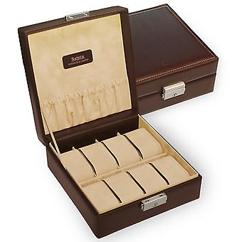 Sacher watch case watch box NEW CLASSIC brown for 8 watches lockable window