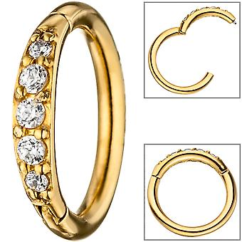 Segment ring stainless steel gold paint coated with SWAROVSKI® ELEMENTS hinge