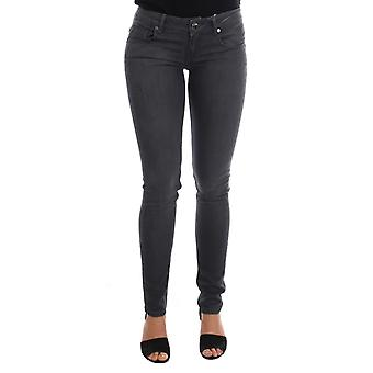 Gray cotton slim-fit denim jeans
