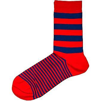 Bassin ja ruskea Graded Multi raidallinen sukat-punainen/sininen