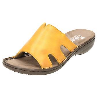 Rieker Slip On leather Mule sandalias 60824-68 amarillo