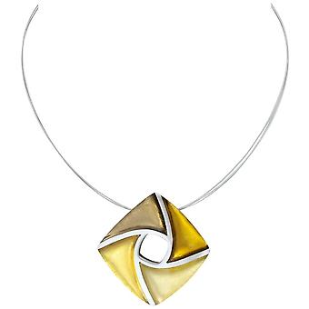 Eternal Collection Kite Shades Of Gold Silvered Resin And Steel Pendant Necklace