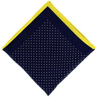 Michelsons af London Pin Dot med grænsen silke tørklæde - Navy/gul