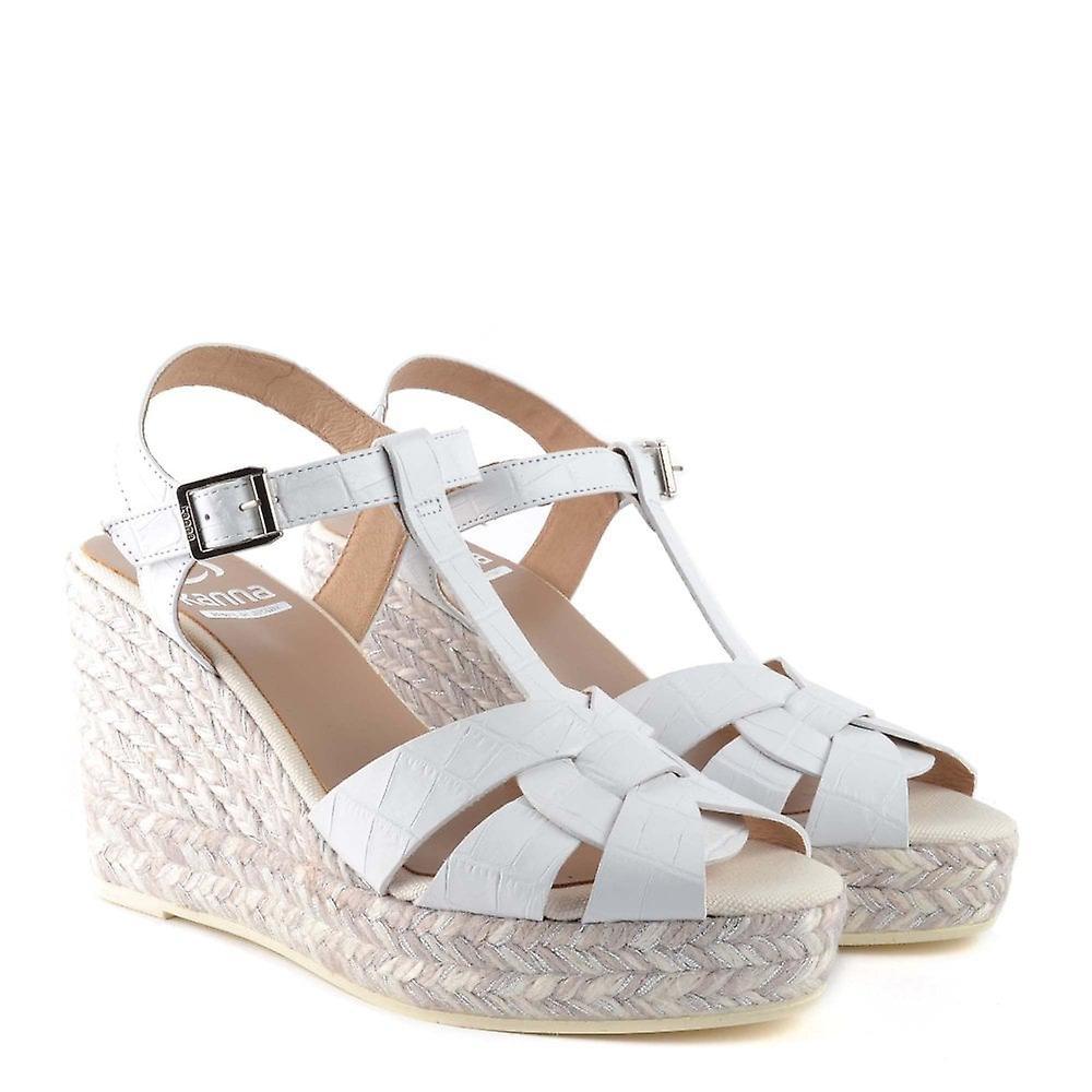 Kanna Margarita White Leather Espadrille Wedge Sandal