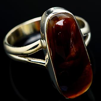 Mexican Fire Agate Ring Size 9 (925 Sterling Silver)  - Handmade Boho Vintage Jewelry RING7624