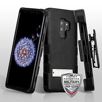 MYBAT Natural Black/Black TUFF Hybrid Phone Case (with Stand)(with Black Horizontal Holster) for Galaxy S9 Plus