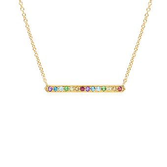 Collana Rainbow Gemstone Bar in oro placcato sterlina d'argento 270N036501925