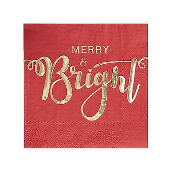ゴールド箔の陽気で明るいクリスマス ペーパー ナプキン - 20 ナプキンの赤とゴールド パック