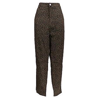 Masseys Women's Plus Jeans Printed Skinny Leopard Print Brown