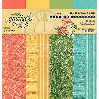 Graphic 45 Lost in Paradise 12x12 Inch Patterns & Solide Pad