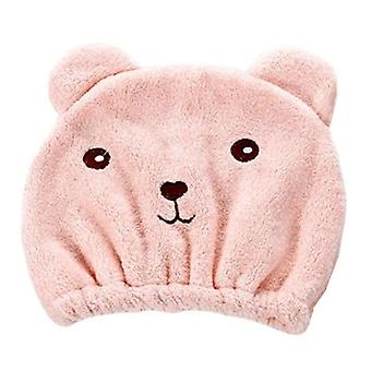 Cute Bear Microfiber Shower Bath Accessories Hair Wrapped Towel Caps Quickly Dry