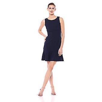 Brand - Lark & Ro Women's Sleeveless Crew Neck Ruffle Hem Sheath Dress, Navy, 6
