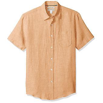 Essentials Men & apos;s Slim-Fit Short-sleeve الكتان قميص, برتقالي, X-Large