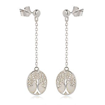 ADEN 925 Sterling Silver White Mother-of-pearl Tree of Life Oval Shape Earrings (id 4088)