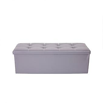 Rebecca Meubels Vouwen Slipper Puff Grey Container Gewatteerde 38x110x38