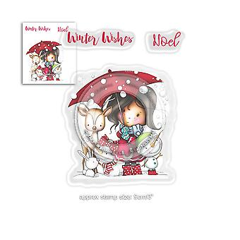 Polkadoodles Winnie Winter Wishes Clear Stamps