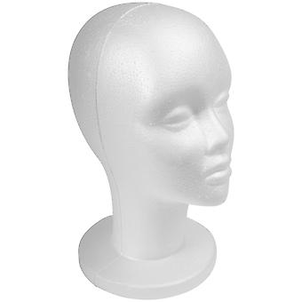 SHANY Styrofoam Model Heads/Hat Wig Foam Mannequin 12 Inches  White Female Head with stand- 1 PC