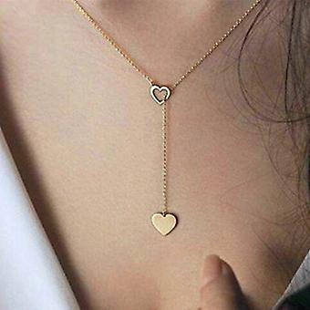 الذهب تعشيق قلادة القلب قلادة