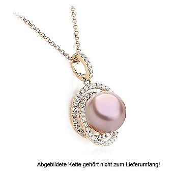 "Luna-Pearls - Pendant Brilliant - Rose Gold 750/- Freshwater-ZP ""Ming"" 9-10 mm 2040555"