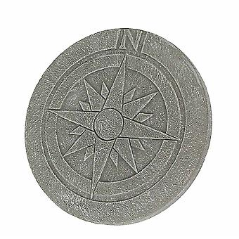 Compass Rose Design Natural Gray Finish Round Cement Stepping Stone / Wall Hanging 10 Inch