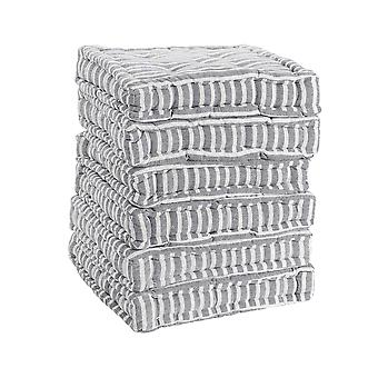 Nicola Spring Square Padded French Mattress Dining Chair Cushion Seat Pad - Grey Stripe - Pack of 12