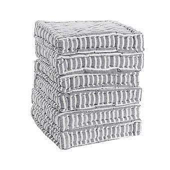 Nicola Spring Square Gewatteerde Franse matras eetkamerstoel kussen stoelpad - Grey Stripe - Pack van 12