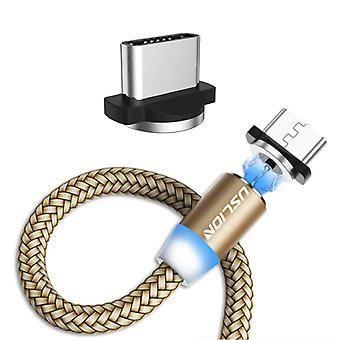 USLION USB-C magneettinen latauskaapeli 2 metriä tyyppi C - Punottu nailonlaturi Data Cable Android Gold